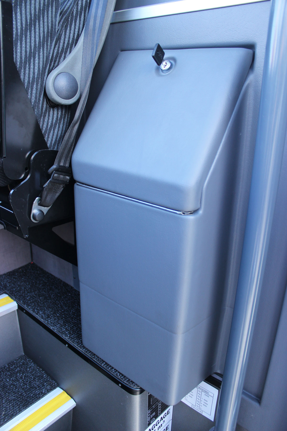 A neat fridge is installed low down alongside the courier seat. It extends under the floor where the front nearside passengers sit