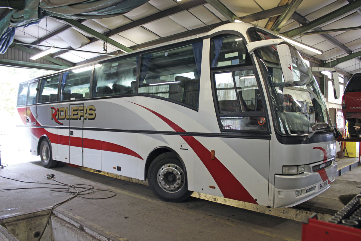 All servicing and repair work is undertaken in the workshops at Dulverton where this Berkhof Axial bodied Scania was seen