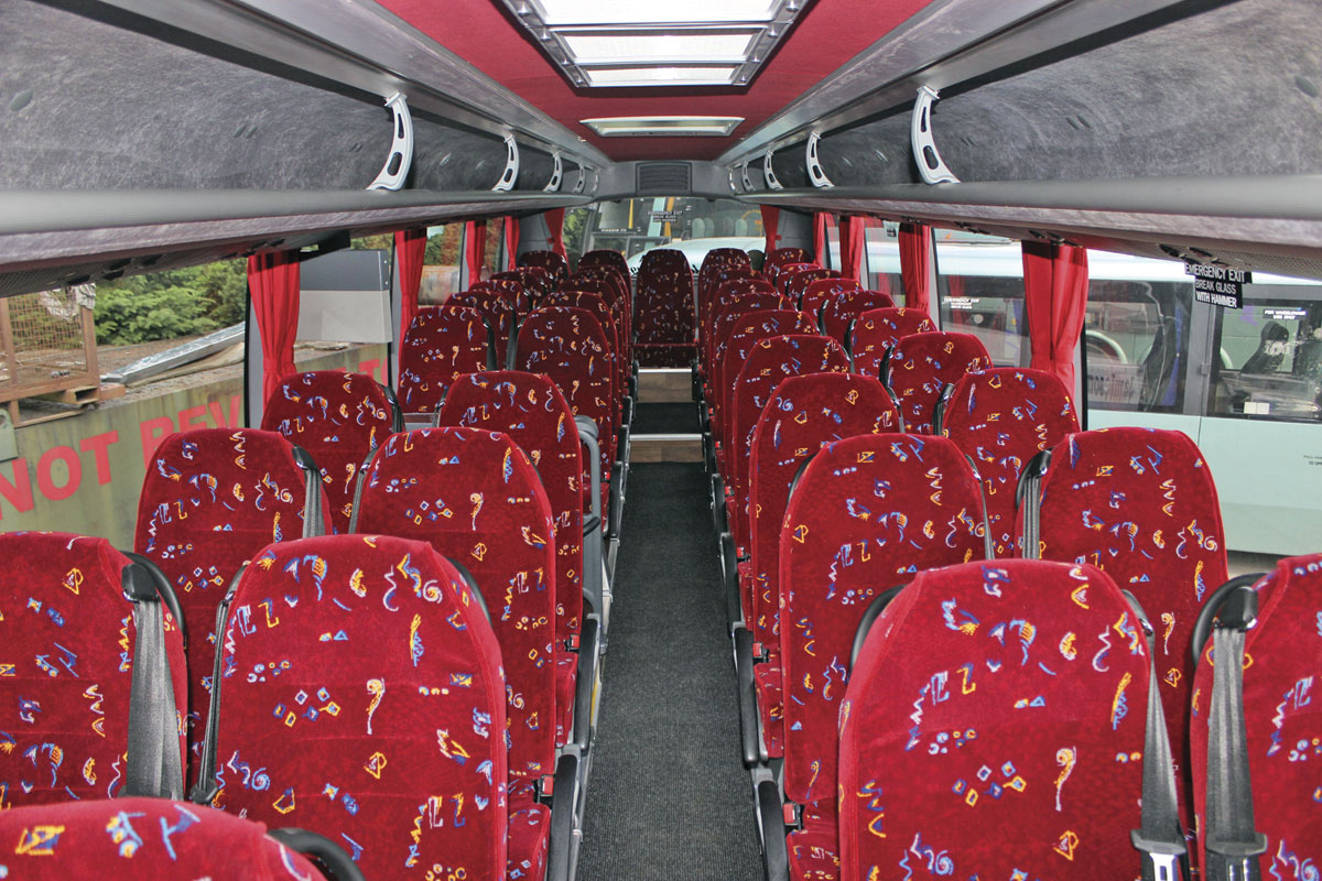 As specified by Jamiesons, the coach has 43 Kiel recliners, which is the most that can be accommodated in the 10.35m HD. The new 10.8m alternative will give you up to 47 seats