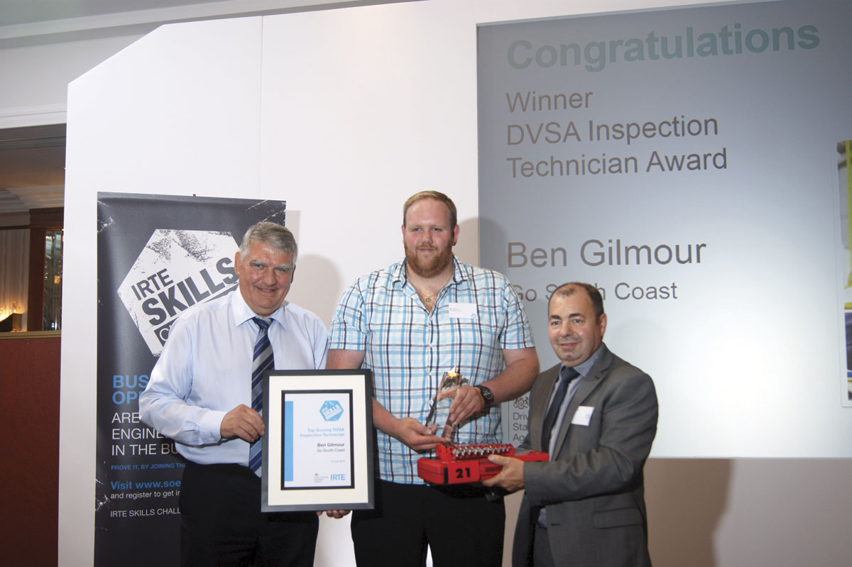 Ben Gilmour of Go South Coast receives his Top Scoring DVSA Inspection Technician award