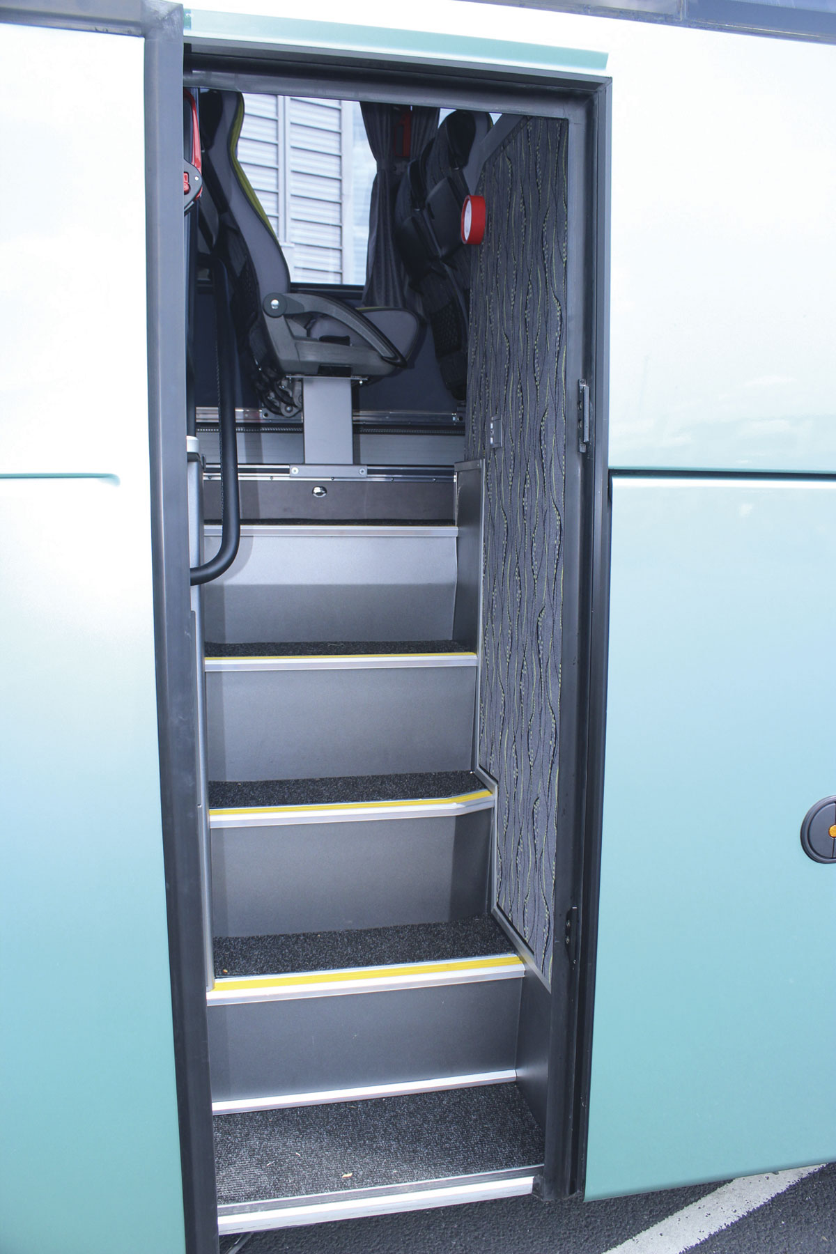 Five steps take you up to the aisle of the 13.8m Barbi HDH, with the toilet compartment on the right