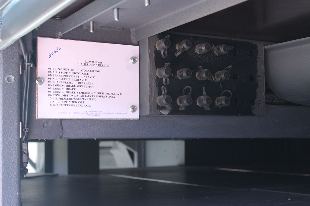 MAN provides test ports for checking the air systems. They are located within one of the nearside lockers