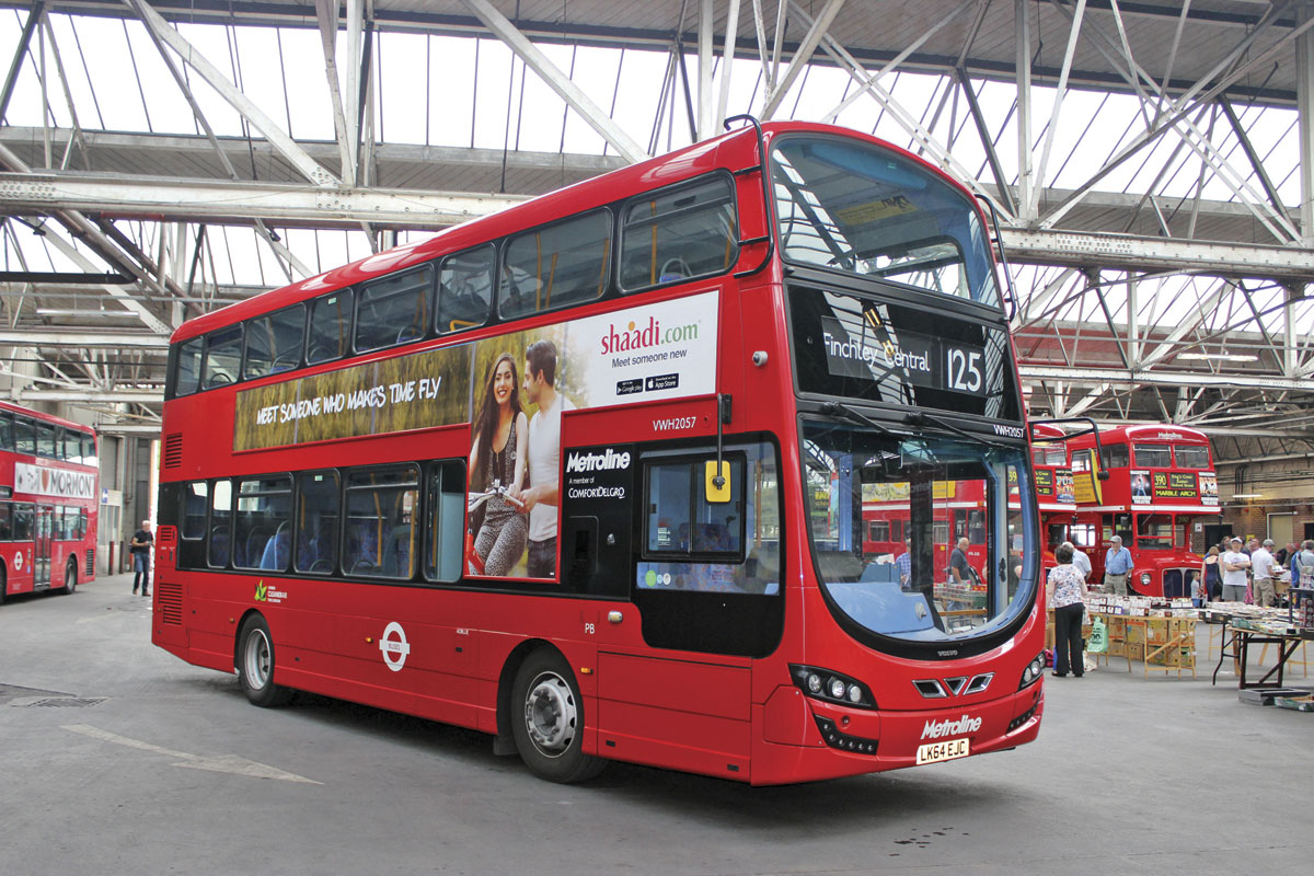 One of 13 new Volvo B5LH Wright hybrids used on the 125 service linking Finchley Central and Southgate Station