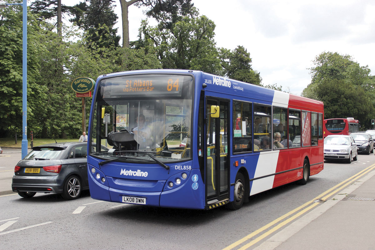 Operating commercial route 84 between Barnet and St Albans is one of the refurbished Enviro200s in the blue fronted livery used for these services