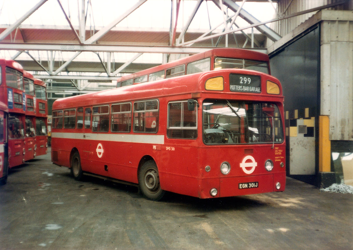 Operating from the garage in 1979 was this SMS type AEC Swift among a number of DMS type Daimler Fleetlines
