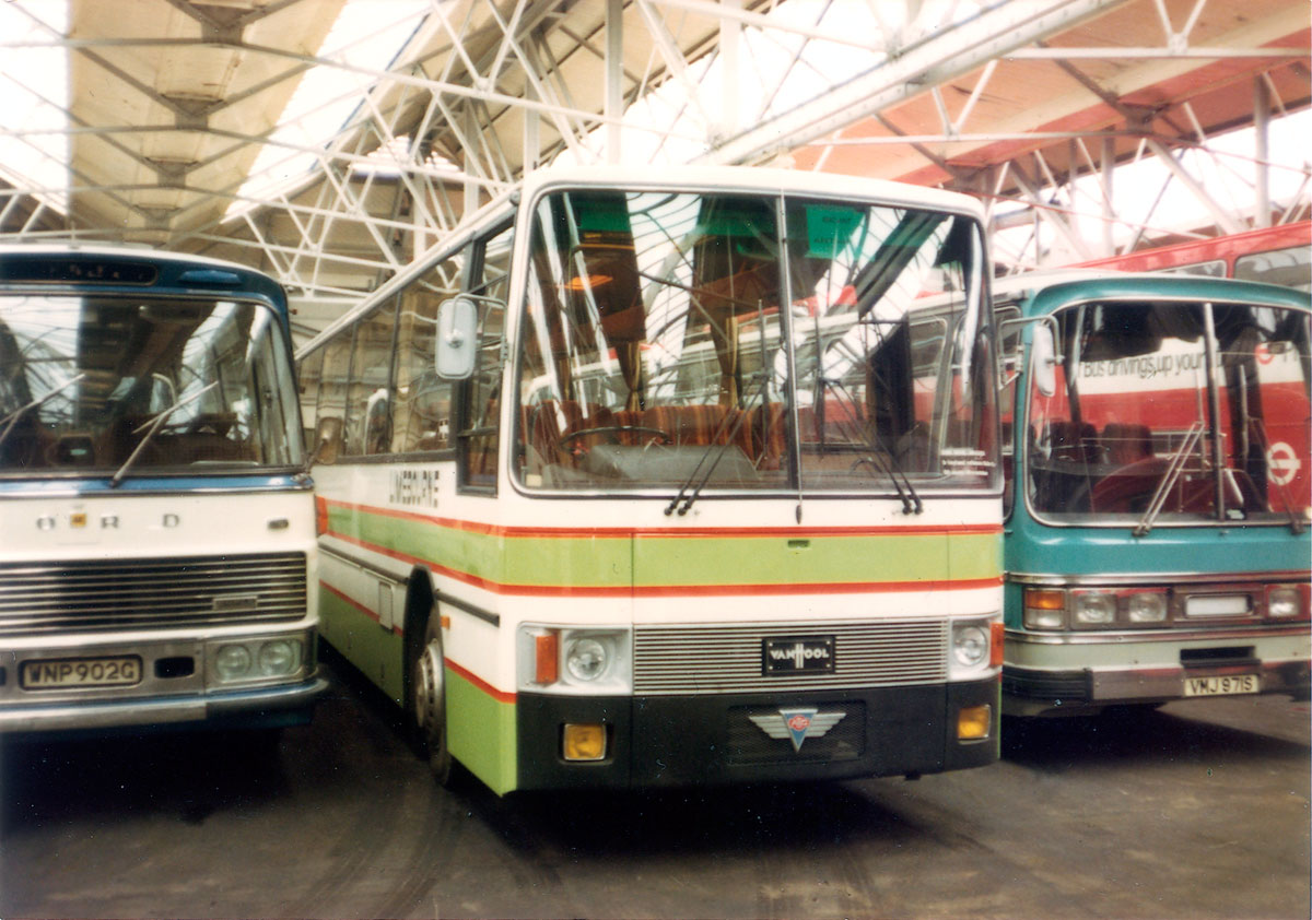 Taken in early 1979, this shot inside the depot shows one of three new AEC Reliances with Spanish built Van Hool Aragon bodies that were supplied to Limebourne