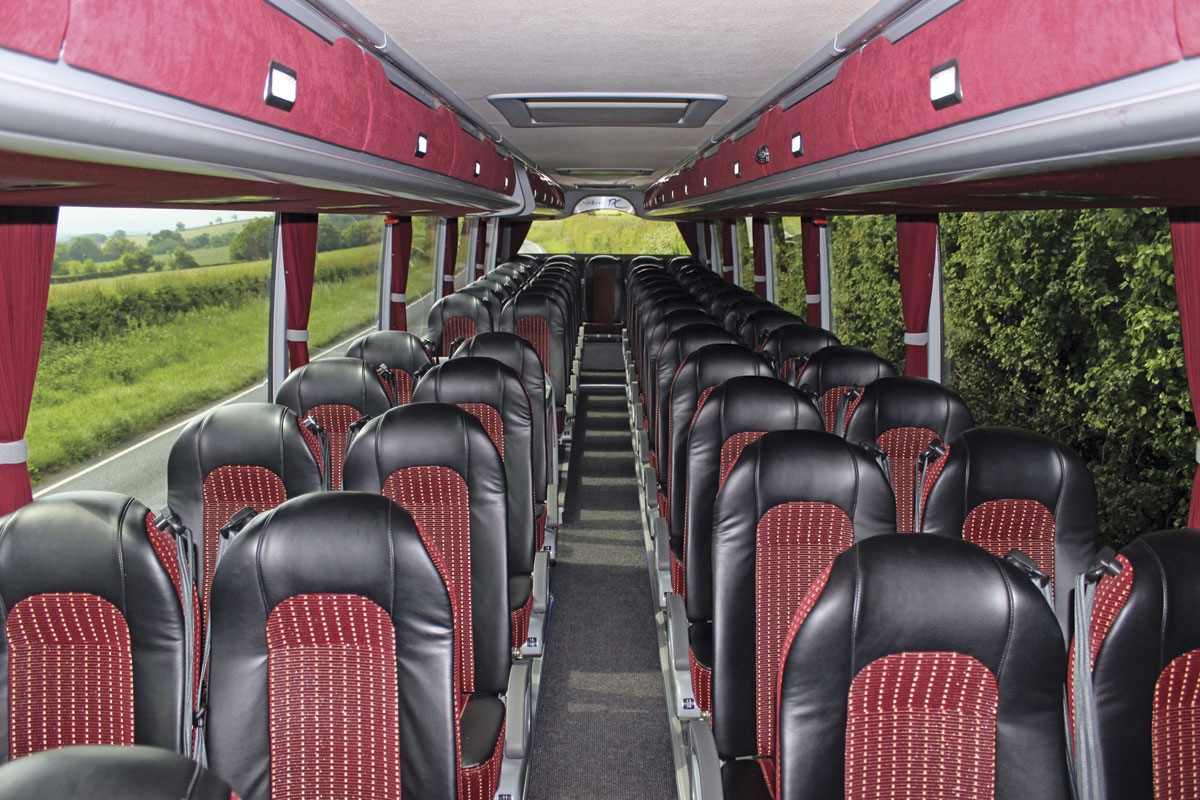 The 53-seat interior of the Van Hool TX16