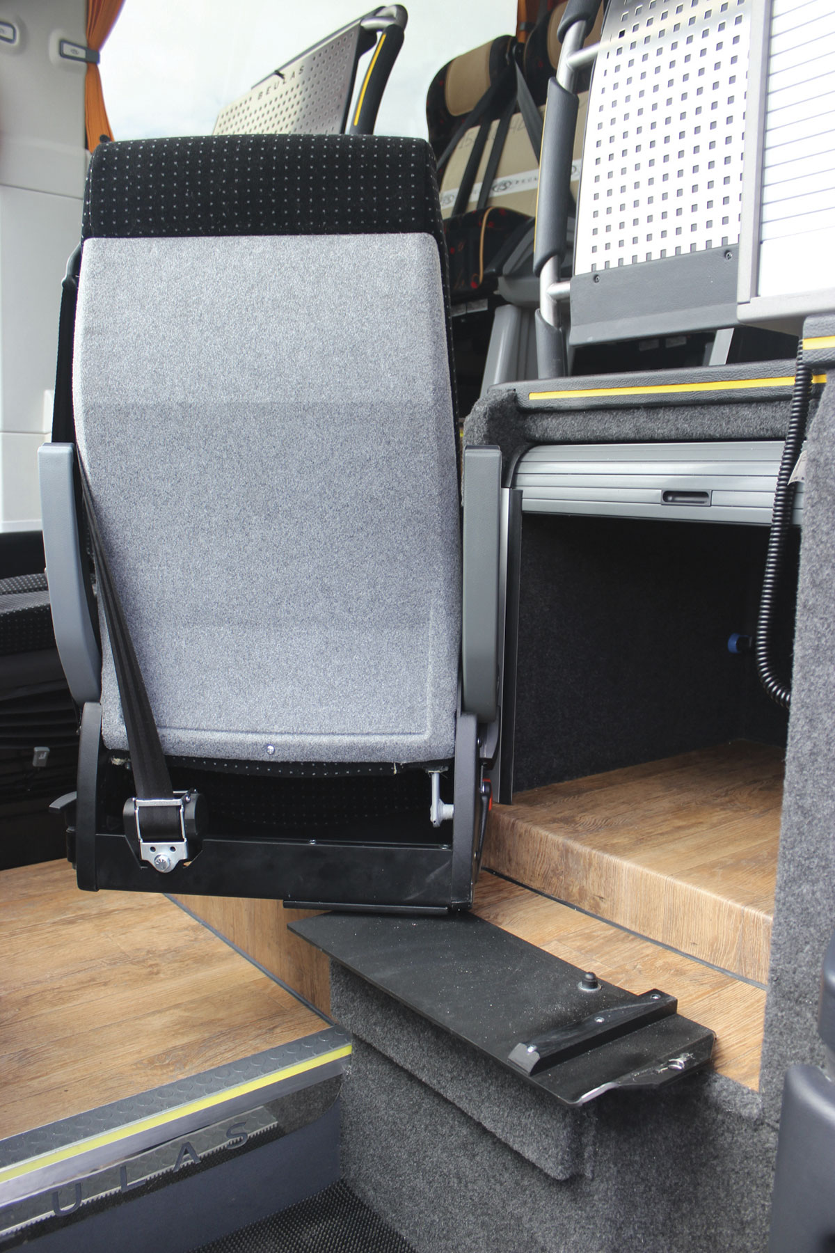 The courier seat swivels to provide better access to the locker behind