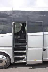The entrance is aft of the front axle and opens on to a well-proportioned straight set of steps to the saloon. The entrance is protected by a plug door