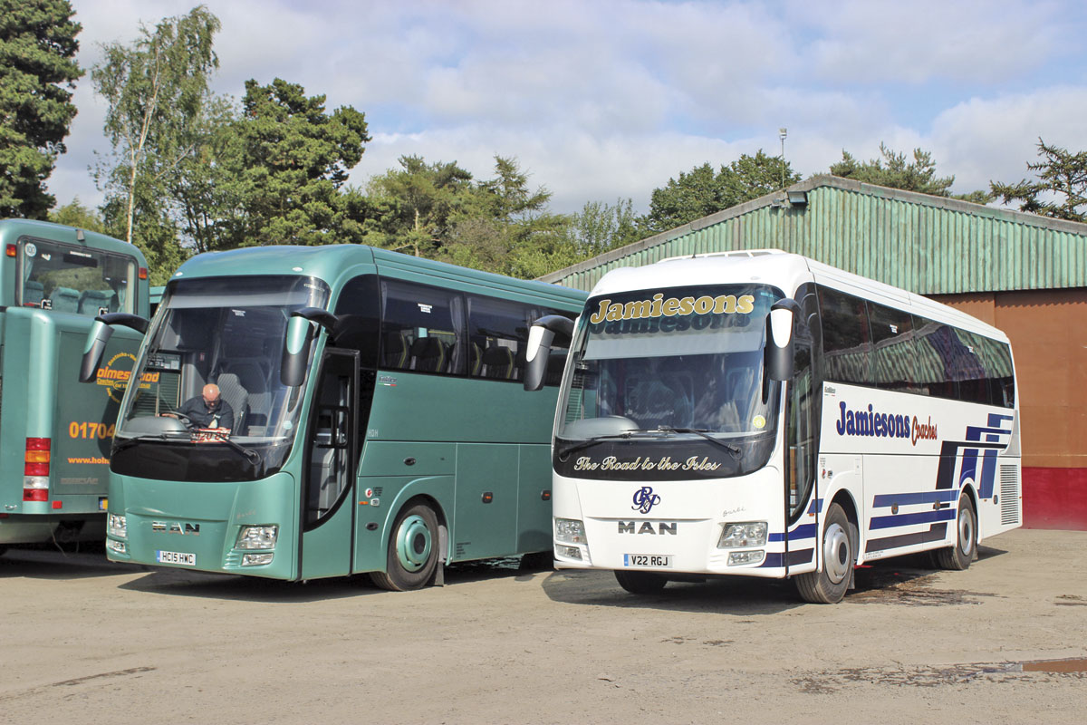The first two Barbi bodied coaches for the UK in Holmeswood's yard at Rufford