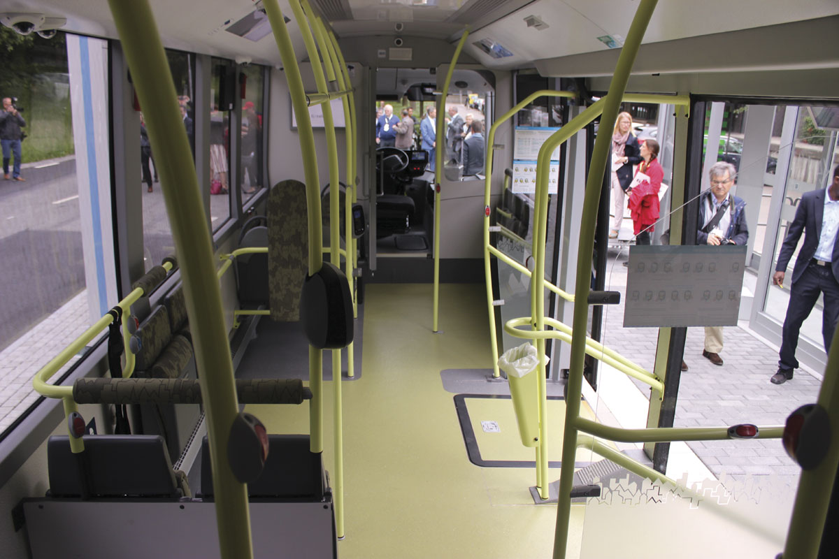 The interior of one of the electrics showing the wide double entrance and central driving position