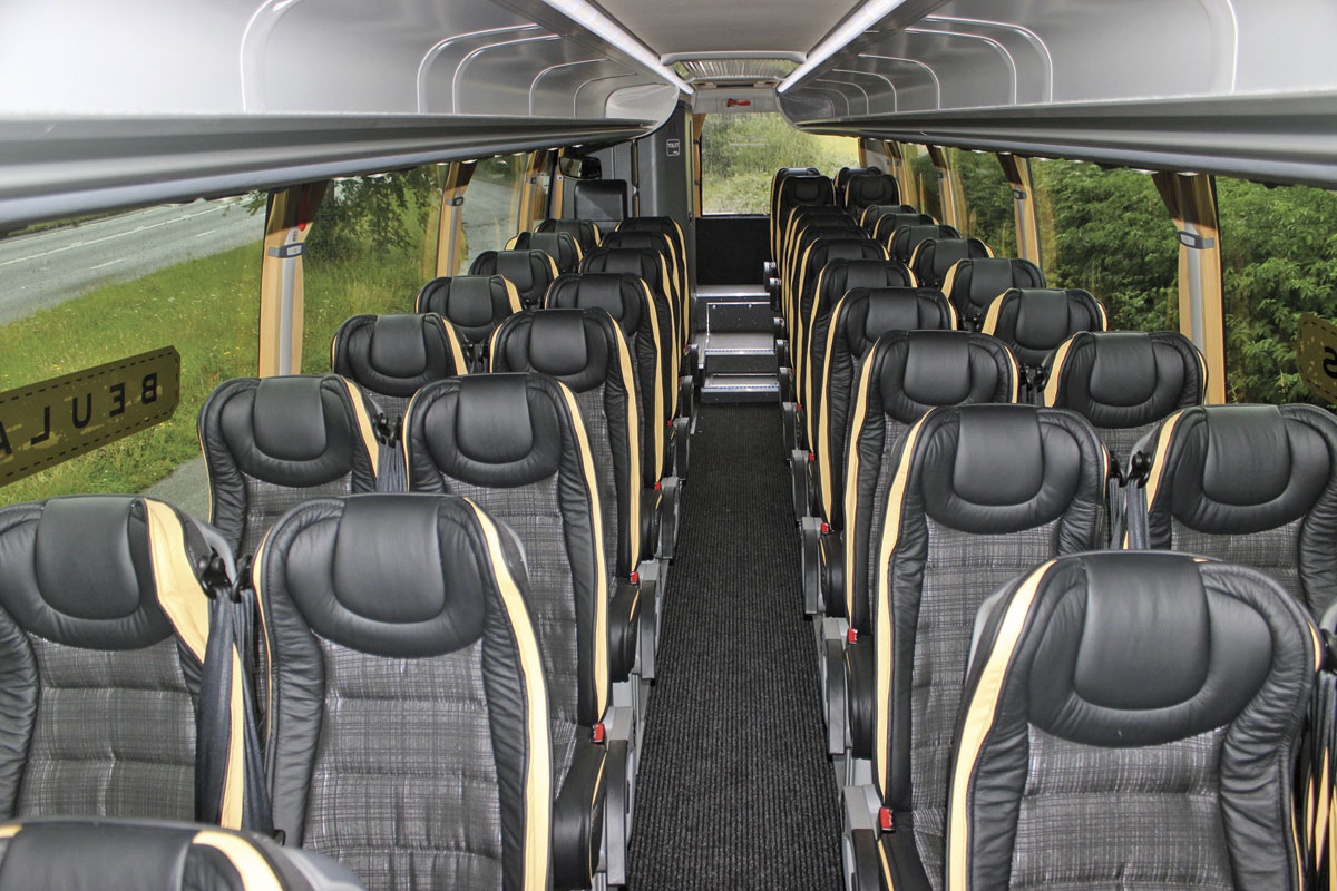 The interior of the Cygnus from the front, showing the 40 seats. 41 are possible or 43 without the rear saloon toilet in place