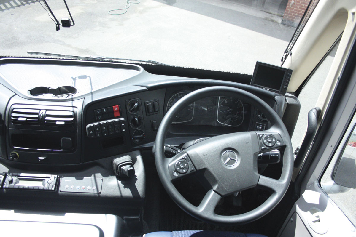 The well laid out dash utilises the excellent Atego unit with body system controls added