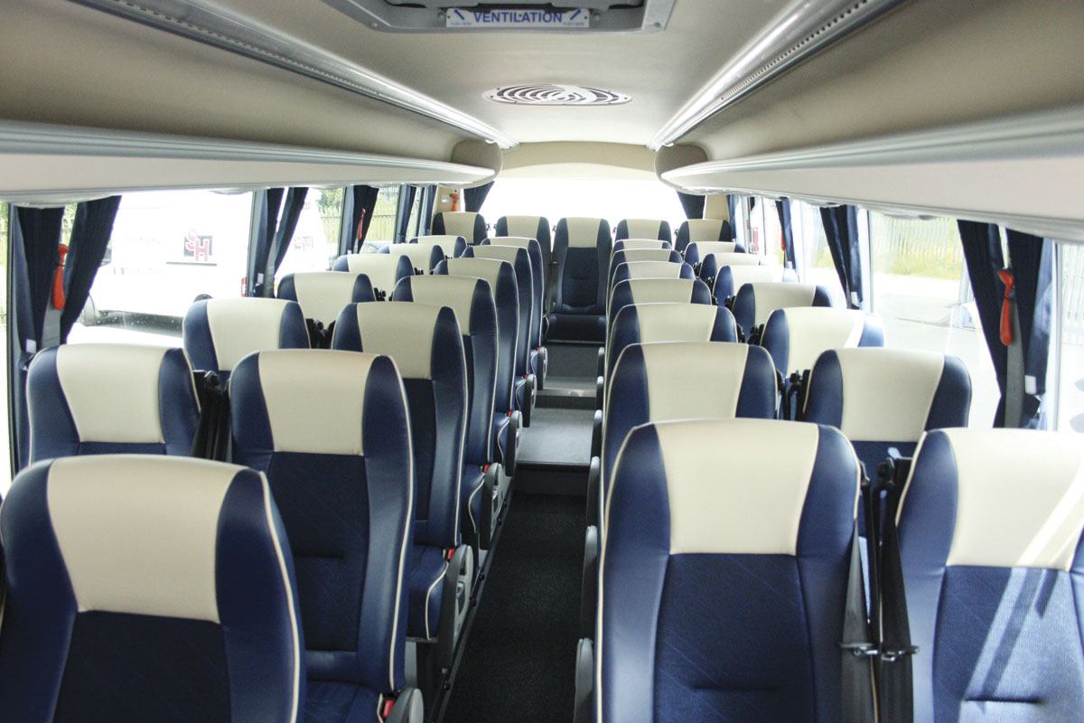 The well-trimmed interior can provide seating for 36 but this vehicle has 34 seats