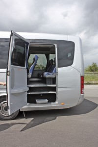 The wide emergency exit is on the nearside to allow for the easy fitment of a wheelchair lift if required