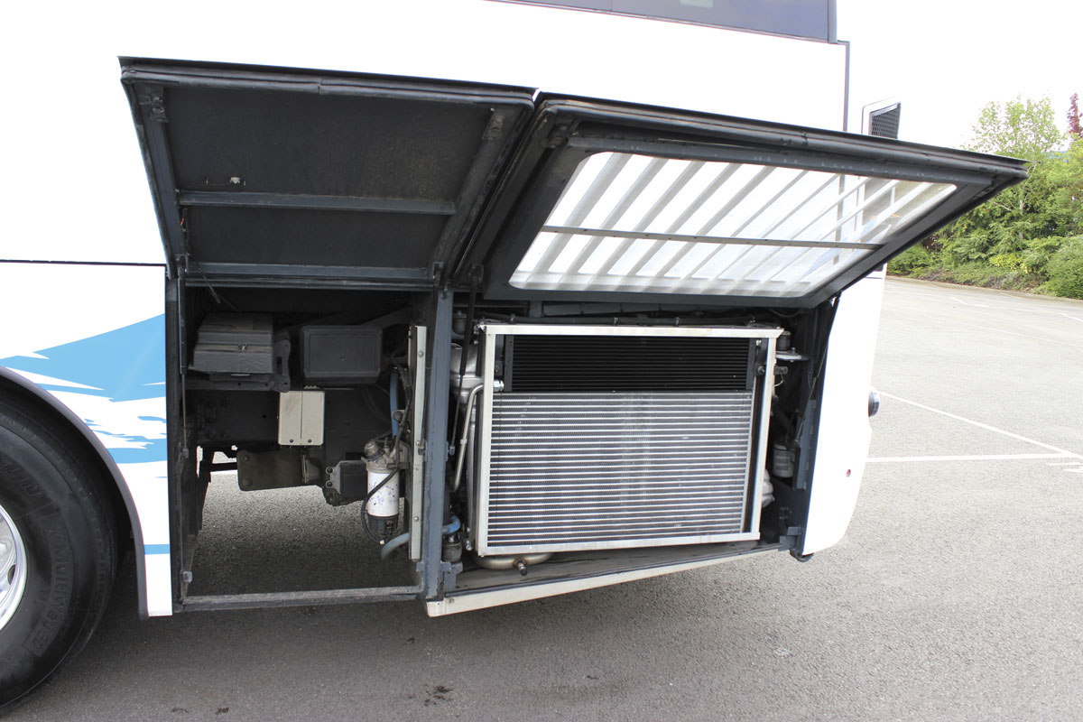To the right, the radiator system and in a separate locker to the left, the i-Start  battery system
