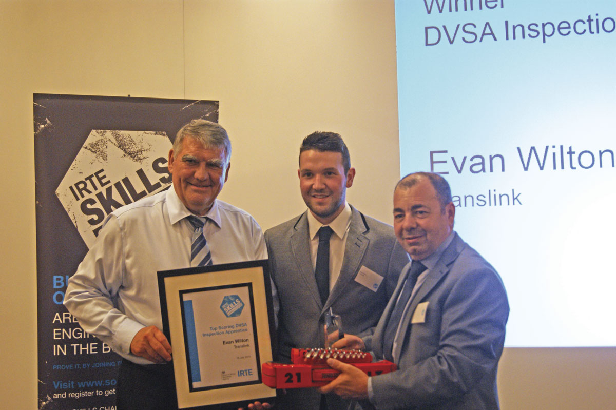 Top Scoring DVSA Inspection Apprentice, Evan Wilton of Translink