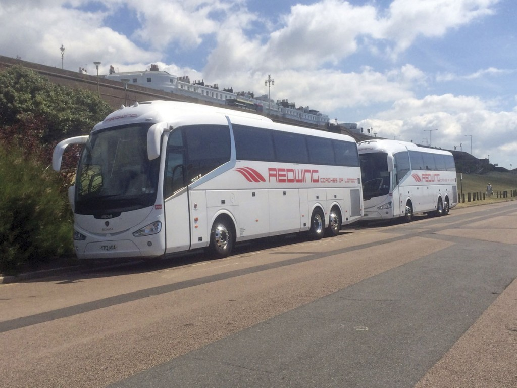 Oh we do like to be beside the seaside! Two Scania Irizar i6 tri-axles at Brighton.