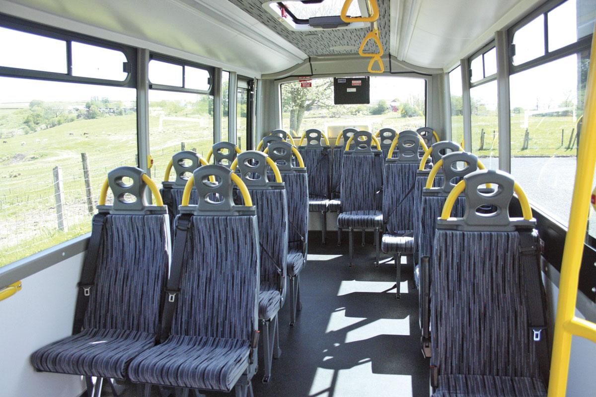 Seating in this vehicle is for 18 on conventional belted high back seats plus two in the wheelchair bay with tip-up seats and two standees giving a capacity of 22. The seats are Rescroft Ultra-lites. Seating can be track mounted if required