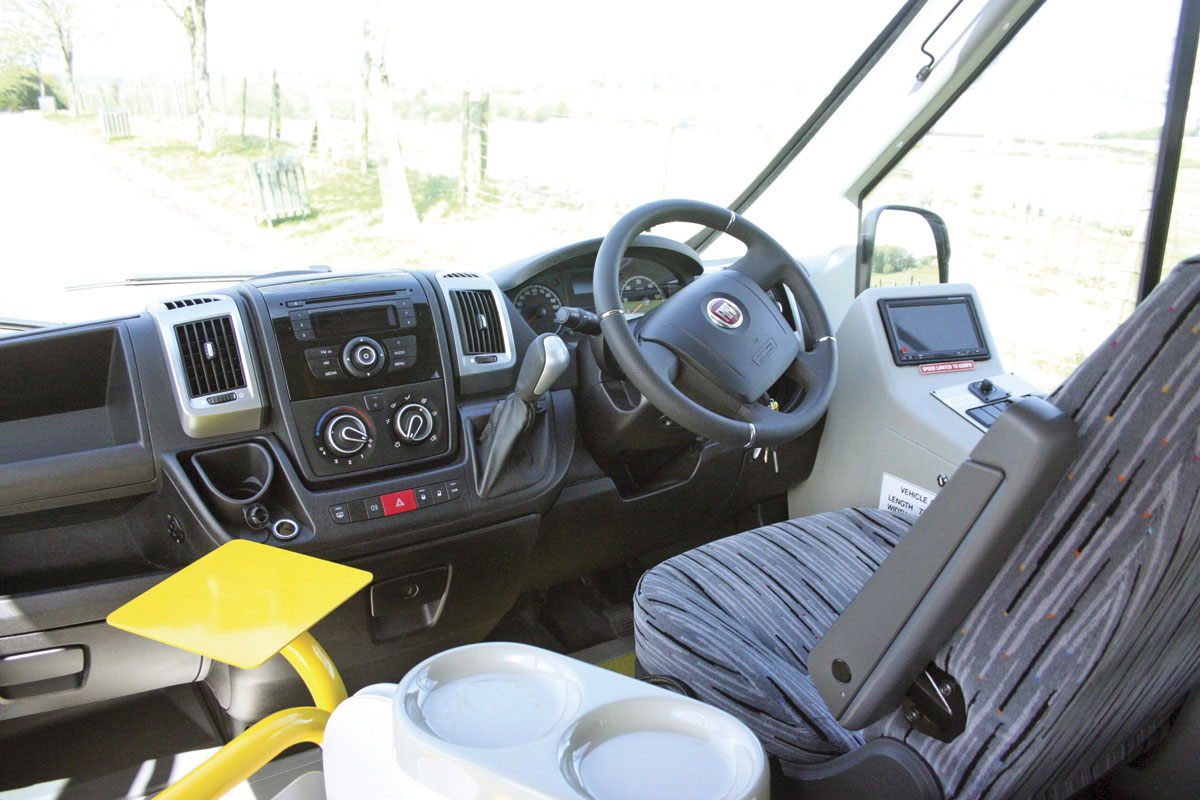 The main dash is standard Fiat Ducato. All the body controls and the screen for the reversing camera are housed in a neat unit to the driver's right. This also incorporates a lockable driver's locker