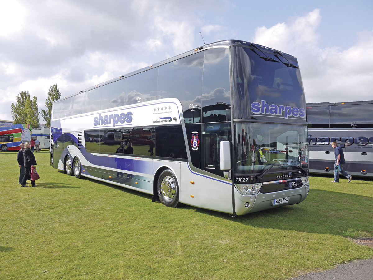 A Van Hool TDX27 Astromega at the 2014 Showbus event at Duxford