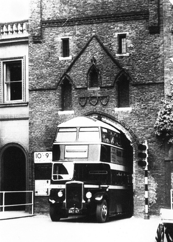 An EYMS 1939 Leyland passing under Beverley Bar.