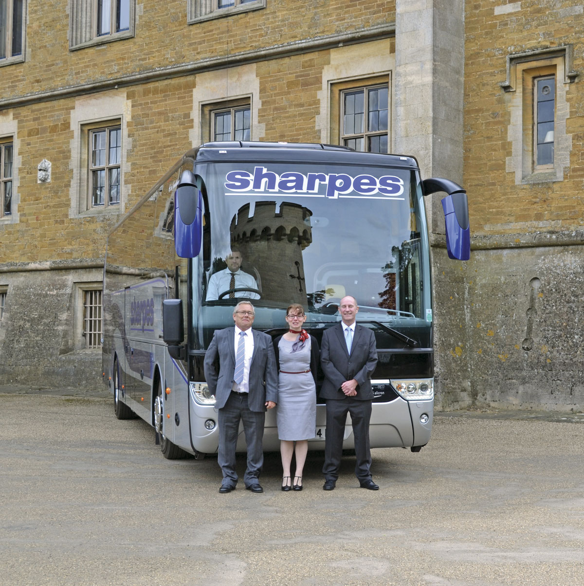 Arriva Bus and Coach representatives LtoR-Steve Fletcher, Operations Manager Rentals and Used; Laura Finnigan, Marketing Manager, and Area Sales Manager, David Cunliffe