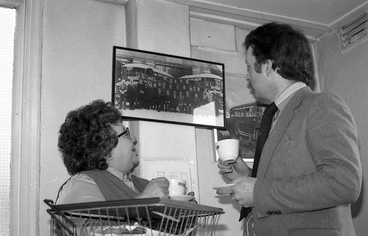 Ashley in his office at Midland Red when running the travel centres. The lady in the picture is Adrianne Wilson, an ex conductress of Nuneaton garage who was a staunch union representative