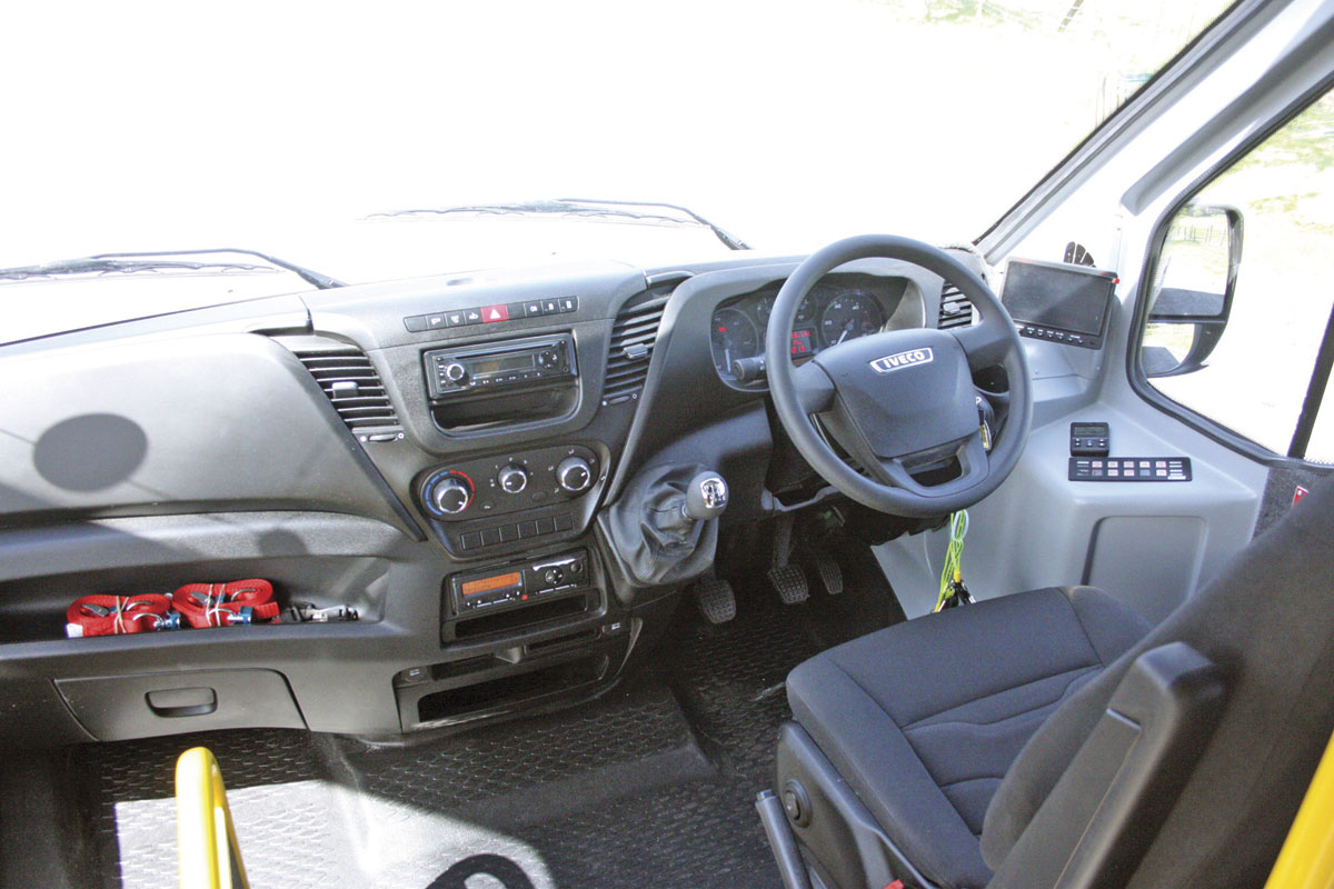 Cab treatments, Aberdeenshire with Iveco trimmed seat and CCTV screen