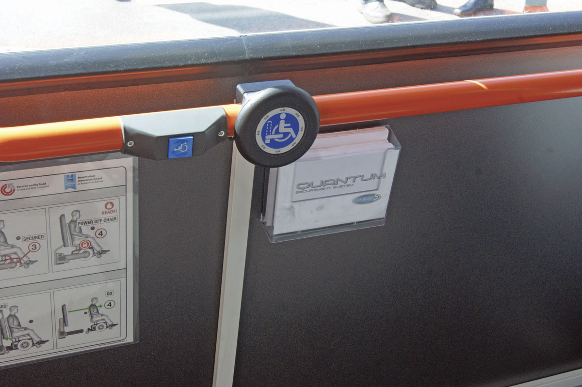 EYMS has fitted an information leaflet panel next to the Quantum activation button and stop bell in the wheelchair space onboard