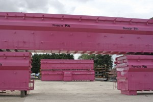 Examples of Premier Pit's pink prefabricated steel pits