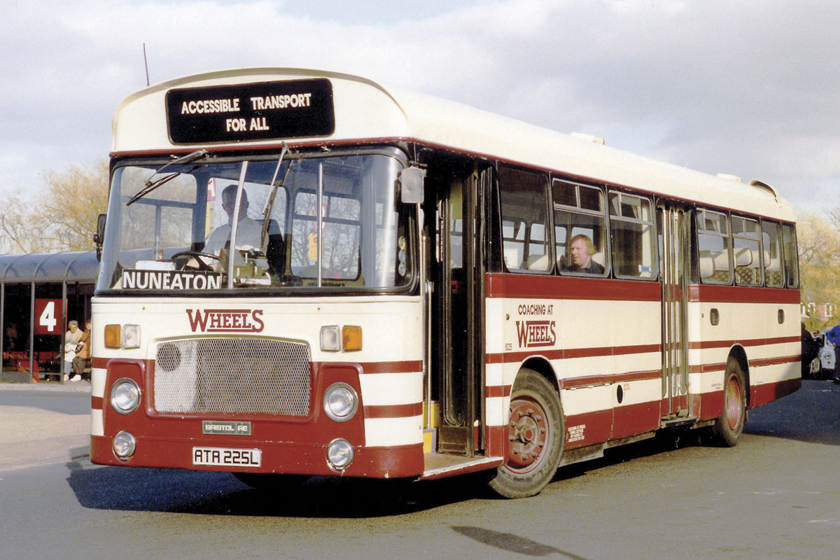 In the Wheels of Nuneaton days, Ashley at the wheel of a Bristol RE leaving Nuneaton bus station