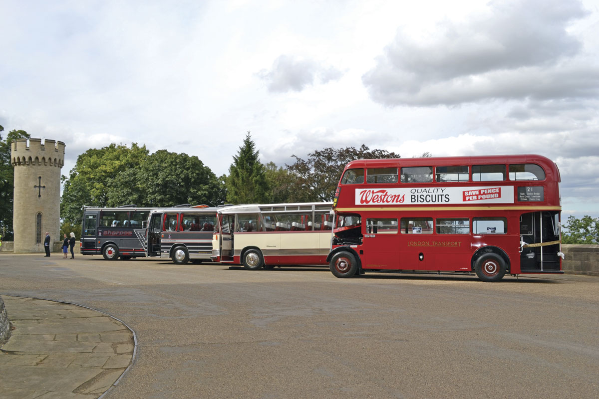 Just some of the operator's heritage fleet. LtoR-1987 Van Hool Alizee T8, a Plaxton Panorama Elite III AEC Reliance 760, an unregistered 1971 Ford R192Duple Viceroy and a 1950 London RT AEC Regent III 3RT8