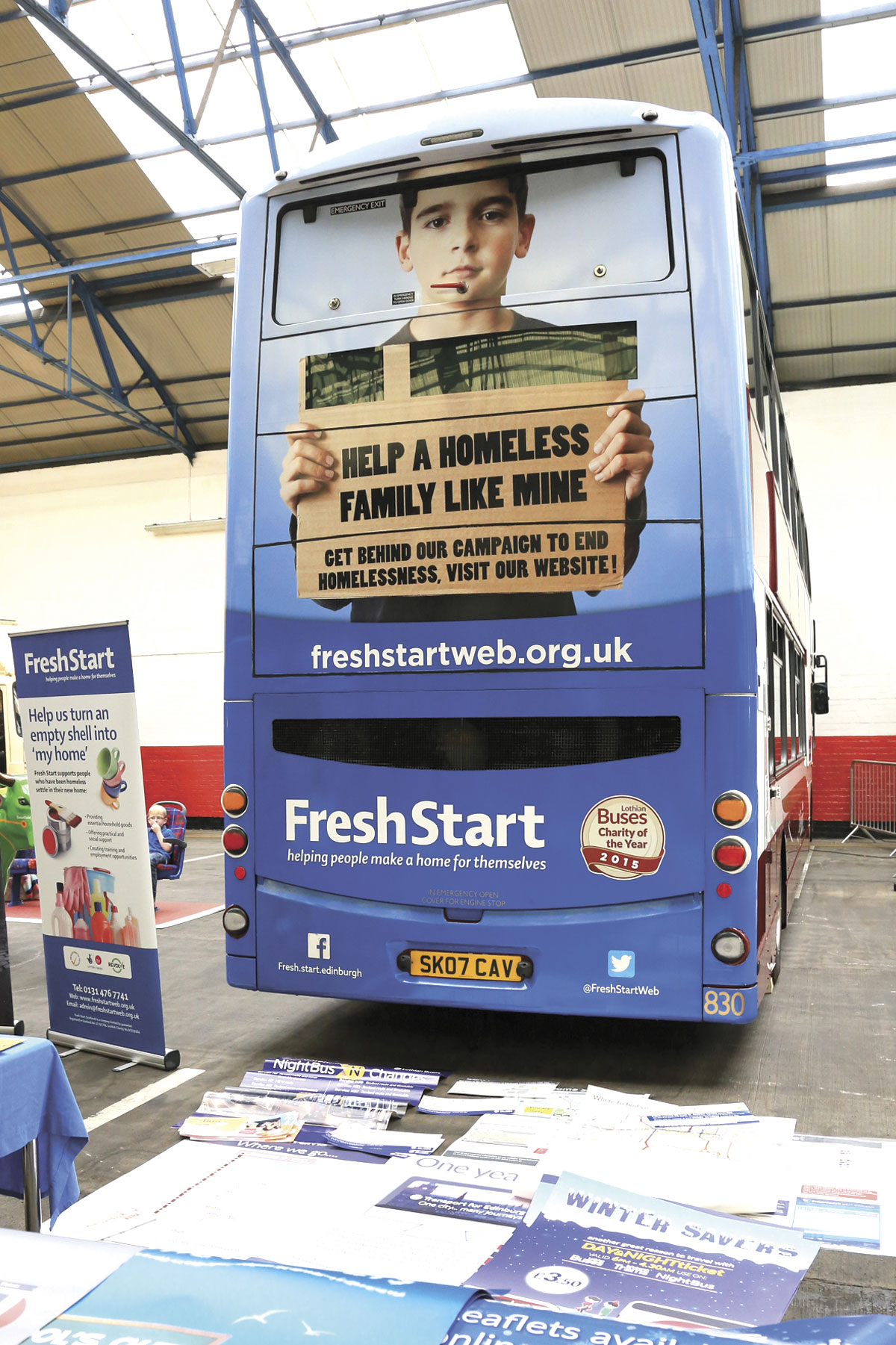 Lothian's chosen charity, Fresh Start, features on the rear of a Volvo Gemini