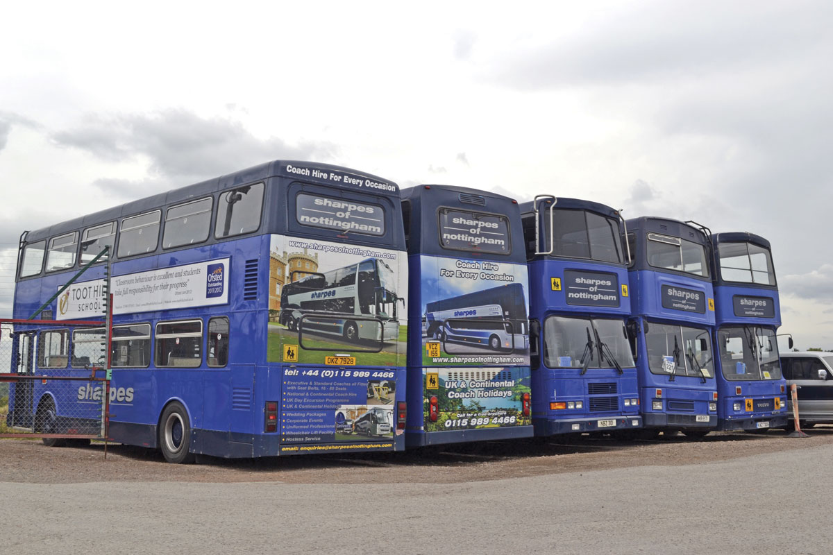Some of the double deck buses that are used on school contracts in the local area