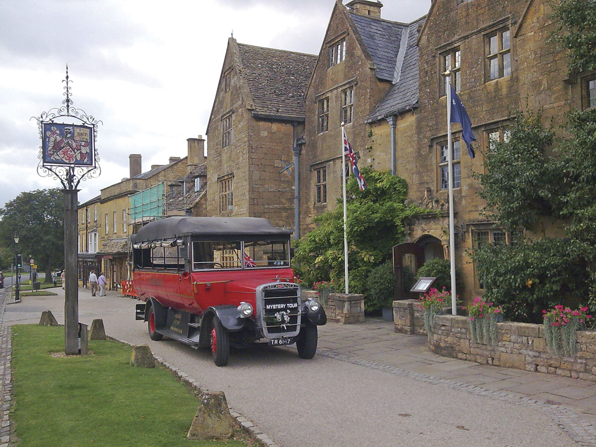 The Bristol LH based charabanc outside the Lygon Arms in Broadway
