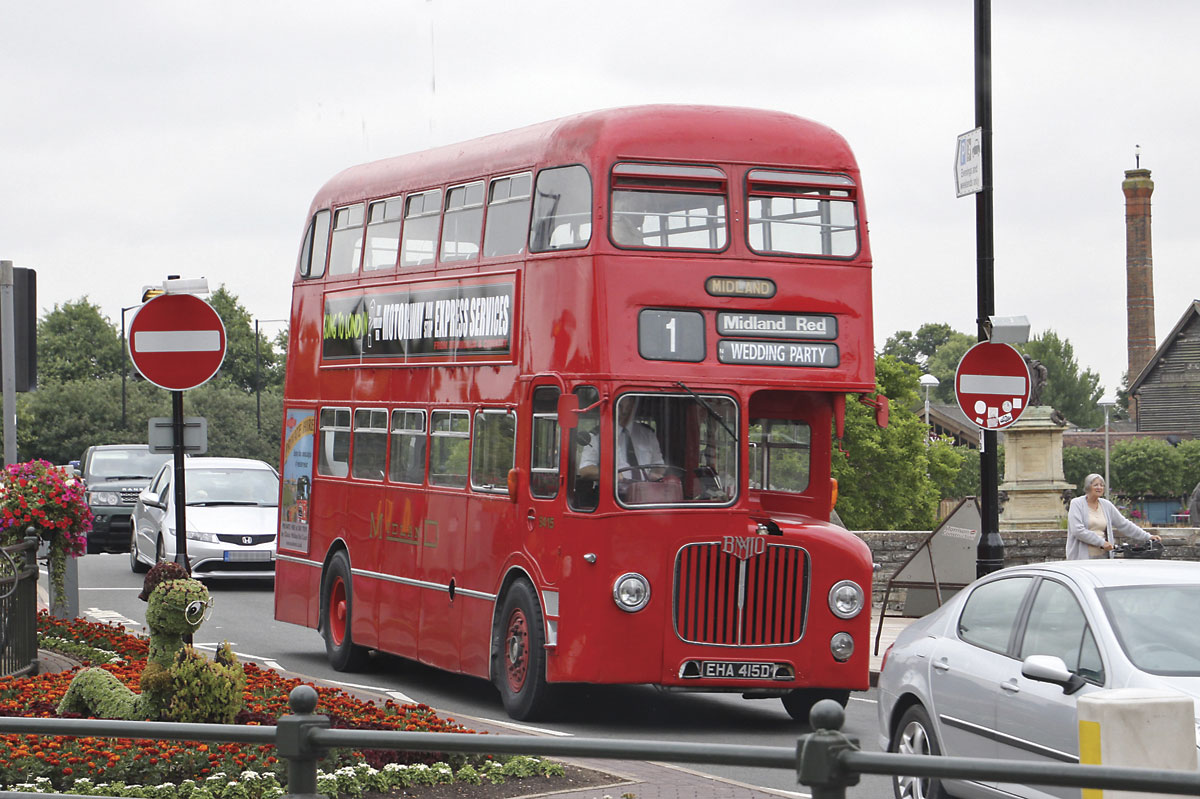 The Midland Red D9 on a private hire in Stratford on Avon