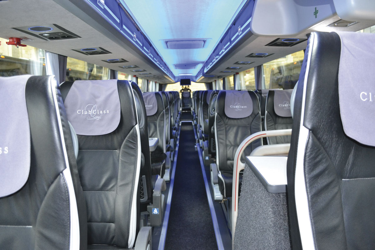 The interior of the Van Hool Altano TDX21 Club Class