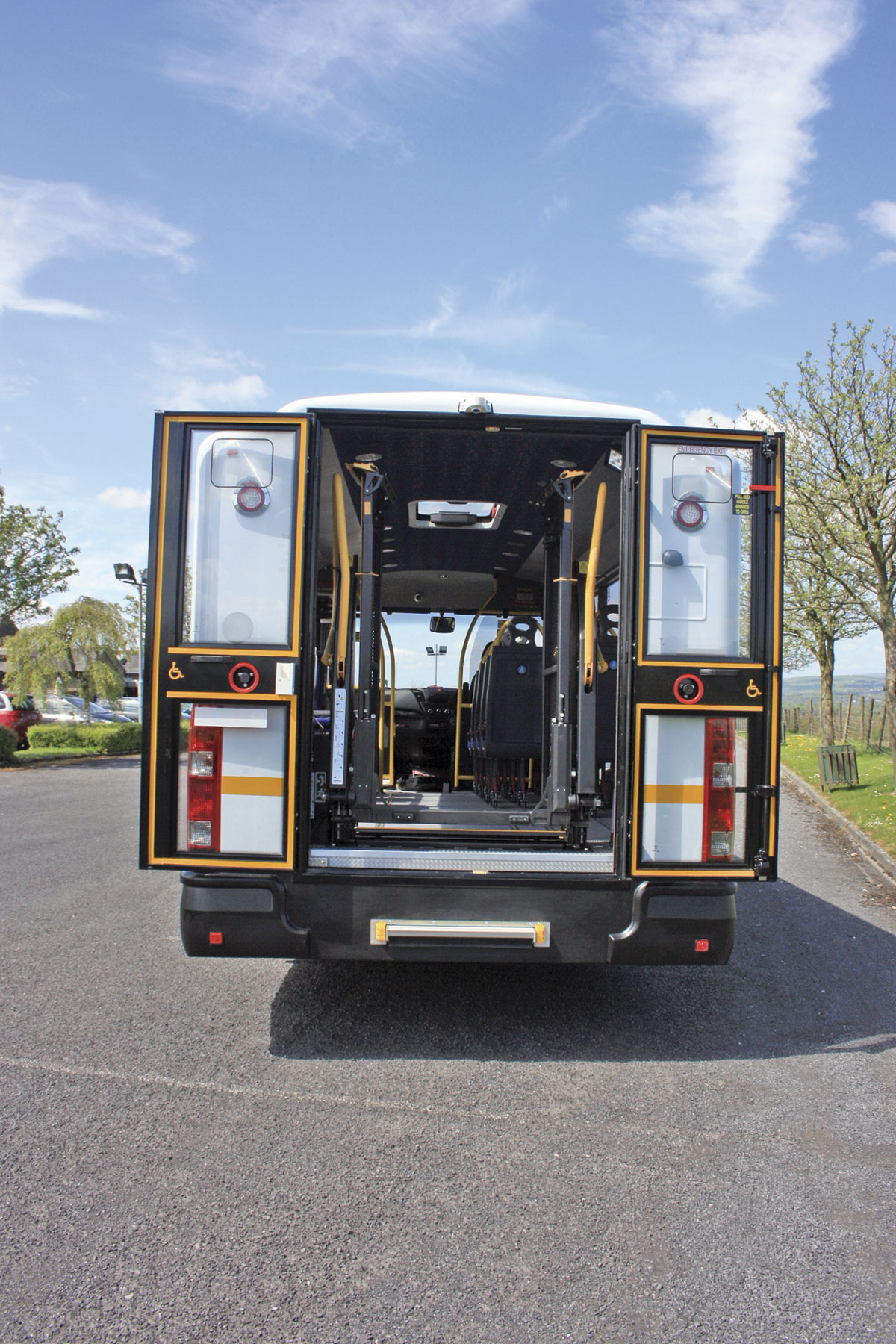 The rear of the Aberdeenshire vehicle with Ratcliff in-board lift. Note the additional manual step for use in emergencies
