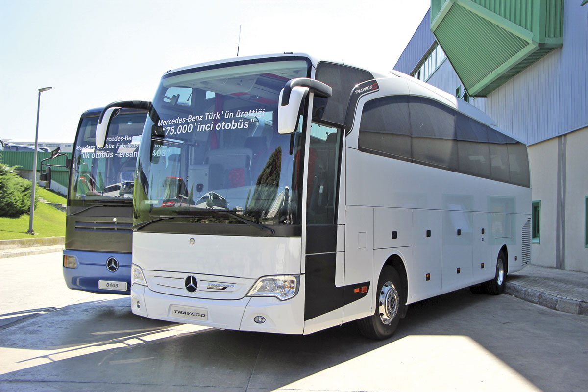 This Travego was the 75,000th coach built by Mercedes-Benz Turk and its predecessors