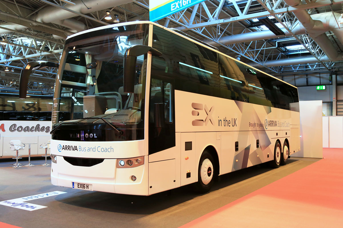 Van Hool EX shown in left hand drive form by Arriva Bus andCoach.