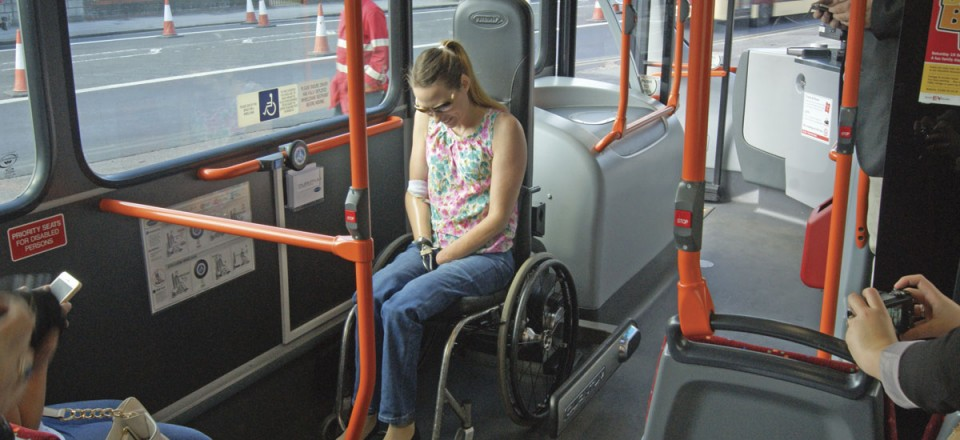 Helen then waits for the arms to grip her wheelchair