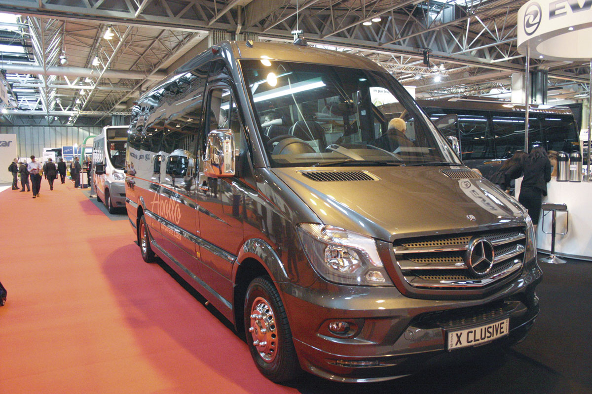 A luxurious EVM X'Clusive Sprinter built for Apollo Corporate Coaching.
