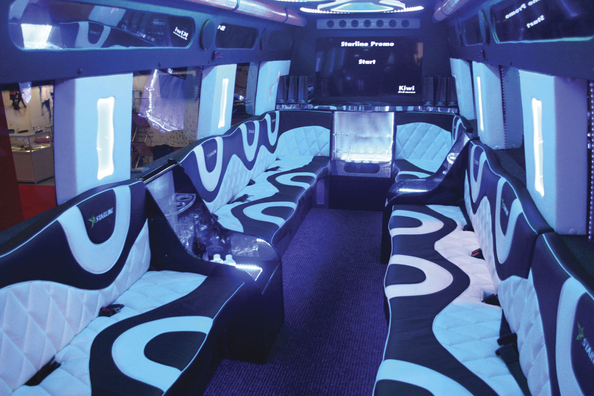 A place to let your hair down. A limo bus based on a Sprinter produced by Starline of South Wales.
