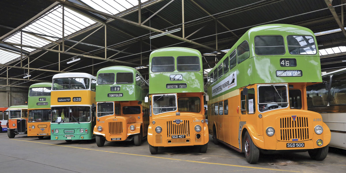 A smart line up of restored Glasgow Corporation vehicles.