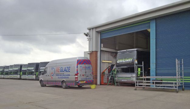 A team from Reglaze on site at Eavesway's yard.