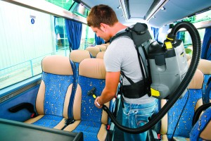 Kärcher provides backpack and long hose vacuum cleaners which are ideal for use on buses.