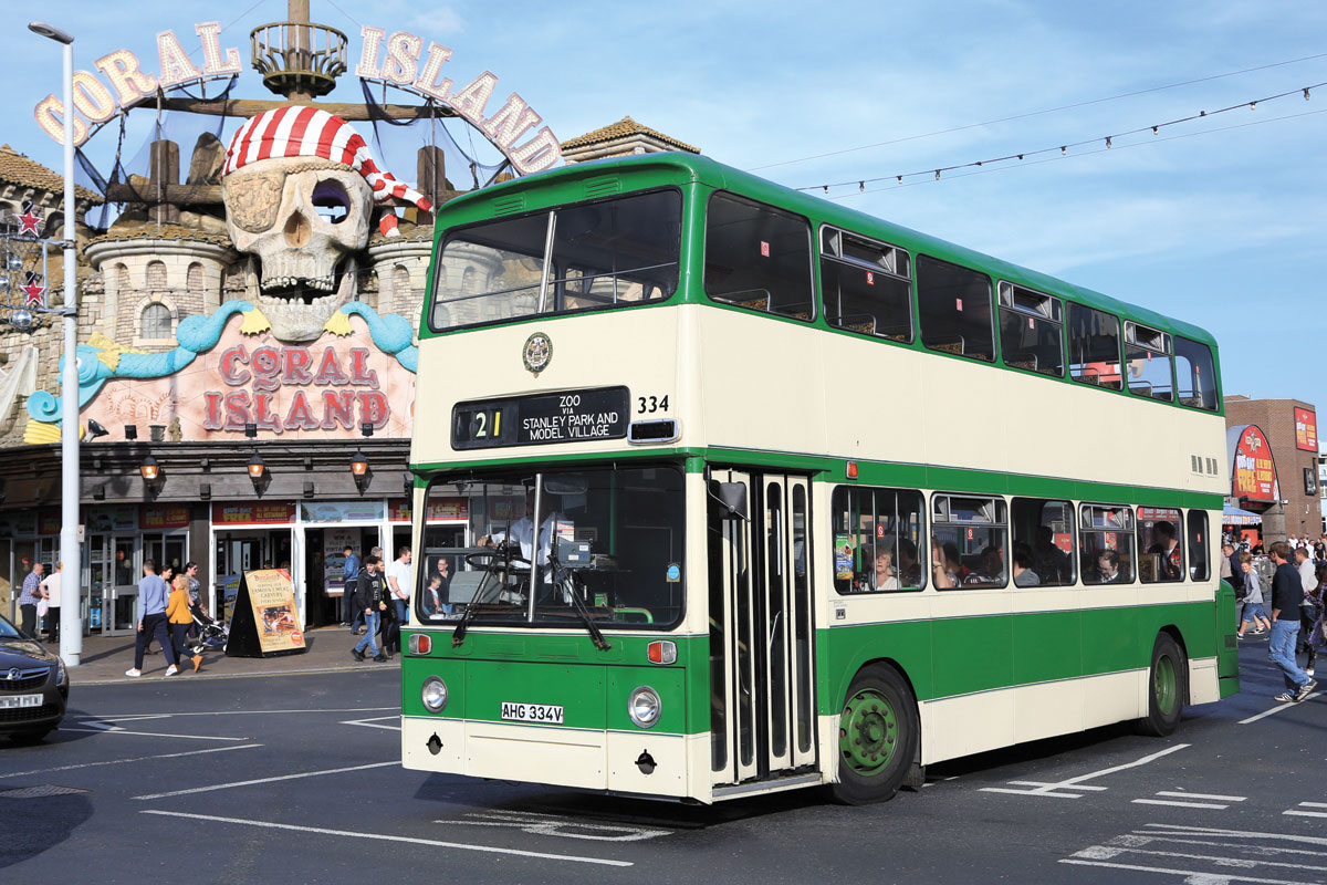 The Lancastrian Transport Trust's restored Blackpool Atlantean arrives on the Promenade whilst working Catch 22's Zoo service.