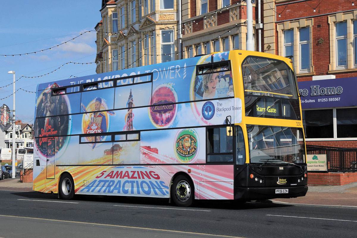Full contravision advertising features on many of the East Lancs bodied vehicles used on the Promenade service including this 2006 ADL Trident.