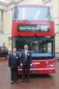 Colin Robertson, CEO of Alexander Dennis Ltd (ADL) with BYD's Founding Chairman Wang Chuanfu following the signing ceremony at London's Lancaster House.
